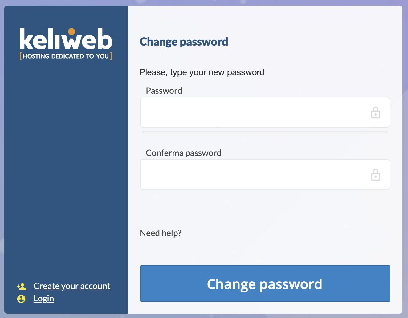 Cambia password