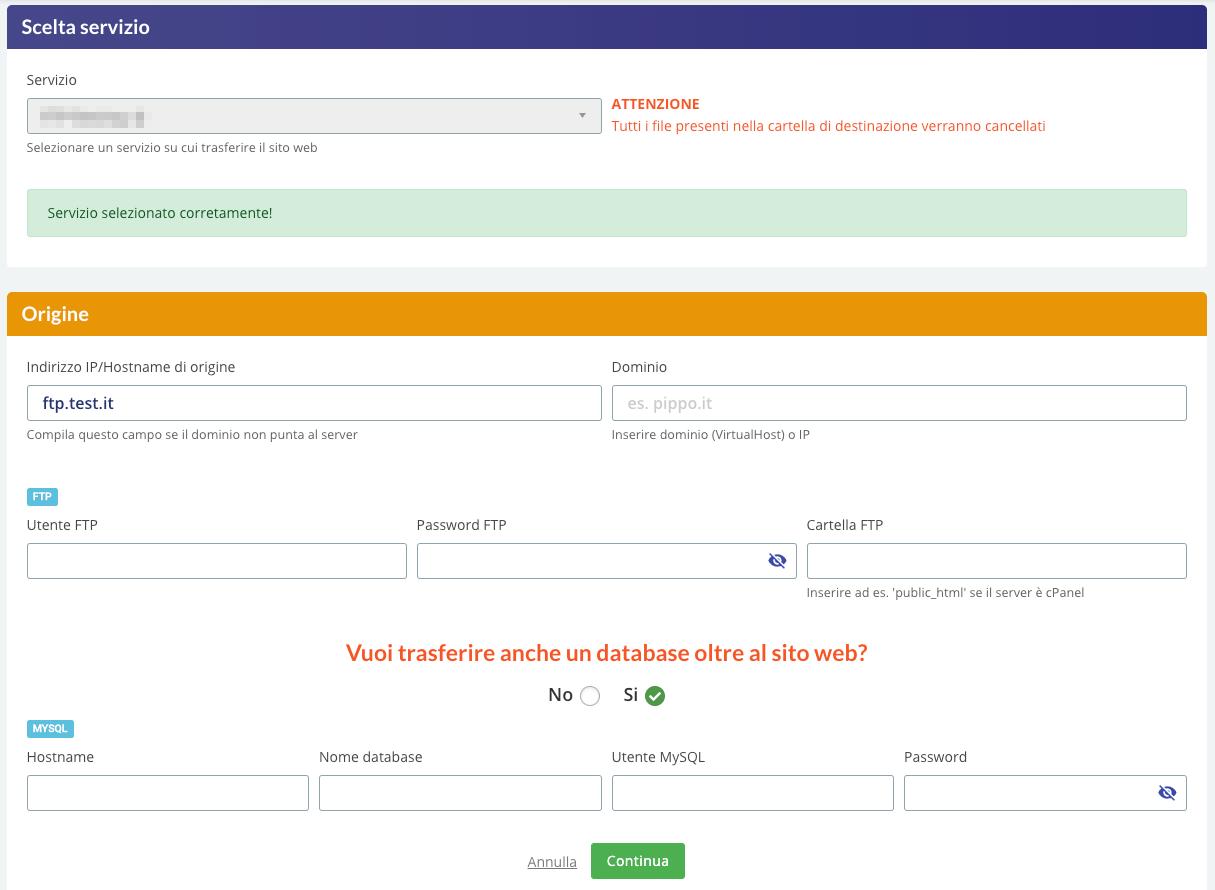 trasferimento guidato sito web